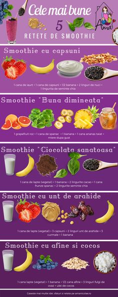 Cele mai bune 5 retete de smoothie - Ama Nicolae Healthy Juices, Healthy Smoothies, Health And Nutrition, Healthy Drinks, Healthy Snacks, Vegan Recepies, Raw Food Recipes, Smoothie Drinks, Smoothie Recipes
