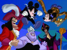 Disney Wallpaper: Disney Villians , Minnie & Mickey House of Villains! Walt Disney Cartoons, Disney Pixar Movies, Disney Cartoon Characters, Disney Villains, Childhood Characters, Cartoon Pics, Disney Diy, Disney Love, Disney Stuff