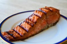 Grilled salmon with soy honey marinade crustacean anqi thang long garlic noodles recipe food is four letter word Honey Soy Marinade, Salmon Marinade, Honey Salmon, Salmon And Rice, Salmon And Asparagus, Mustard Salmon, Honey Mustard, Salmon Recipes