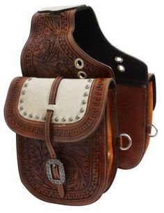 Showman ® Tooled leather saddle bag with hair-on cowhide overlay Leather Saddle Bags, Leather Tooling, Leather Men, Brown Leather, Tooled Leather, Custom Leather, Handmade Leather, Horse Gear, Horse Tack