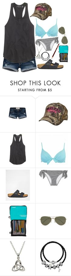 """exam and then swimming"" by gillianheather ❤ liked on Polyvore featuring Hollister Co., J.Crew, Birkenstock, Roxy, Mead, Vero Moda, Pandora, country, school and swimsuit"