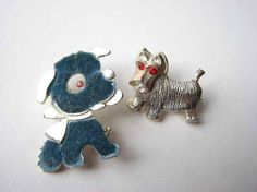 dog scatter pin set of 2 vintage puppy brooch set by aorta