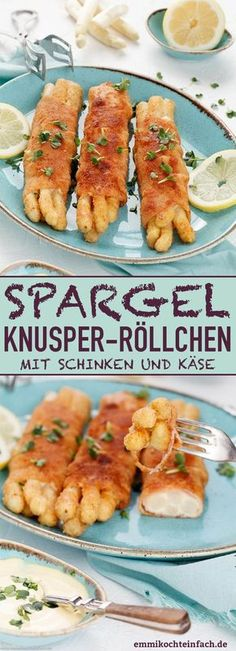 Asparagus crispy rolls with ham and cheese - emmikochtein .- Spargel Knusperröllchen mit Schinken und Käse – emmikochteinfach Asparagus crispy rolls with ham and cheese – www. Appetizers For A Crowd, Seafood Appetizers, Seafood Recipes, Appetizer Recipes, Cheese Appetizers, Party Appetizers, Pizza Recipes, Asparagus Rolls, How To Cook Asparagus