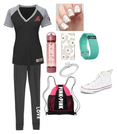 """D-Backs game"" by rikey-byrnes on Polyvore featuring Victoria's Secret, Majestic, Kate Spade, Fitbit, Ice and Converse"