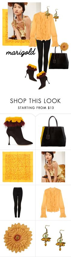 """Marigold-the color of the season!"" by prettykittyzola on Polyvore featuring Manolo Blahnik, Fendi, Hermès, Topshop and See by Chloé"