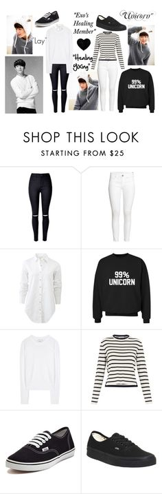 """EXO Lay; Zhang Yixing"" by park-ji-eun ❤ liked on Polyvore featuring WithChic, H&M, rag & bone, 3.1 Phillip Lim, Whistles and Vans"