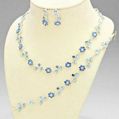 Bridal Necklace Wedding Necklace Silver Blue by goddessdesignsgems Necklace Sizes, Bracelet Sizes, Silver Necklaces, Jewelry Necklaces, Wedding Necklace Set, Floral Necklace, Blue Crystals, Wedding Jewelry, Unique Jewelry