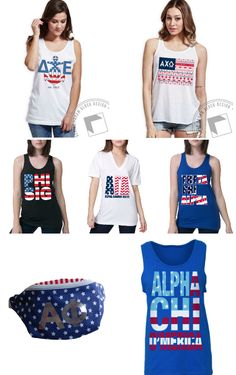 super sweet STARS & STRIPES spotlight! ALL-AMERICAN STYLE 3 WAYS ~ ABD has the patriotic fashions you're looking for in Crowdfunded Blockbuy {top row} • Individual Single Buy {middle row} & Chapter Bulk Buy {bottom row}!! From the 4th of July to fall bid day, show your 'merica sorority spirit! ⭐️ ⭐️ http://www.adamblockdesign.com