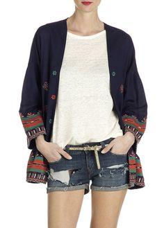 Veste kimono Craig en coton Bleu by BA & SH