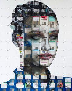 Floppy Disk Portraits by Nick Gentry. #streetart #painting #recycling #floppydisk #nickgentry