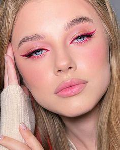 Edgy Makeup, Makeup Eye Looks, Eye Makeup Art, Pink Makeup, Pretty Makeup, Colorful Makeup, Hair Makeup, Casual Makeup, Pink Eyeliner