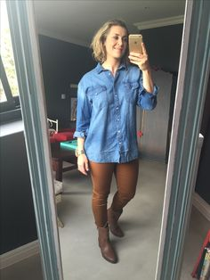 Post Pregnancy Clothes, Pre Pregnancy, Pregnancy Outfits, Wavy Hair, Brown Boots, Personal Style, Stylists, Hair Makeup, Shirt Dress