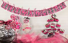 BABY SHOWER PACKAGE -Pink Zebra Baby Shower Party Package $65.95
