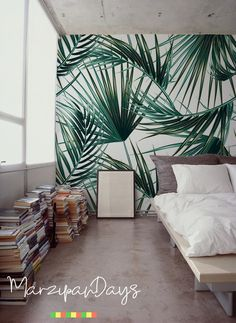 Palm Leaf wallpaper decor, a removable wall mural that looks fantastic in any modern bedroom Interior Tropical, Tropical Home Decor, Tropical Colors, Tropical Houses, Tropical Furniture, Tropical Pattern, Palm Leaf Wallpaper, Green Wallpaper, Wallpaper Decor