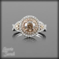 Chocolate Diamond Ring with Rose Gold and White Gold  - Twisted Shank - LS1126