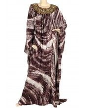 "aljalabiya.com: ""The Felicity Kaftan"" Butterfly chiffon patterned kaftan with hand embroidery (N-10450)    $166.00"