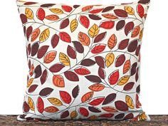 Autumn Leaves Pillow Cover Cushion Fall Modern by PookieandJack