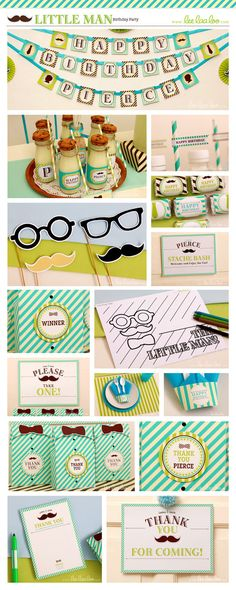 Little Man Birthday Party Package Collection Set Mini Personalized Printable // Little Man - B17Pz1