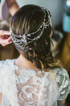bohemian hair accessory and boho wedding dress