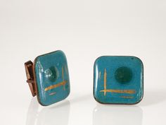 Vintage Turquoise Enamel on Copper Cuff Links - Harvey Avedon Enameled Copper Cufflinks - Copper Cuff Links - 1950s Abstract Enamel Copper at Eight Mile Vintage on Etsy