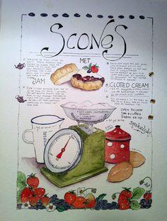 Recipe scones original watercolor by FlowersAndArts on Etsy Old Recipes, Vintage Recipes, Baking Recipes, Cookie Recipes, Cookies Receta, Recipe Book Design, Recipe Drawing, Olive Garden Recipes, Sketch Note