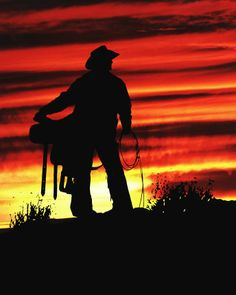 Cowboy at Sunset; Time to Call it a Day.