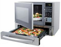 Kenmore Countertop Microwave & Pizza Oven | No more soggy microwaved pizza. Using the pizza drawer in Kenmore's microwave oven, your pizza crust will come out crispy as oven baked. It may be bigger than your standard microwave, but you are actually saving space by combining appliances.