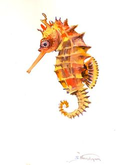 Seahorse Original watercolor painting by ORIGINALONLY on Etsy