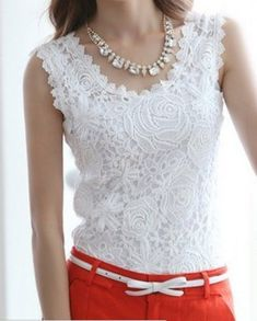 Vintage Floral Crochet Lace Sleeveless Top from Jex Boutique. Shop more products from Jex Boutique on Wanelo. Vestidos Vintage, Vintage Dresses, Débardeurs Au Crochet, Crochet Top Outfit, Crochet Tank Tops, Fashion Outfits, Womens Fashion, Dress Fashion, Brokat