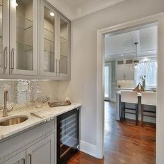 Gray and Silver Butler Pantry with Bar Sink