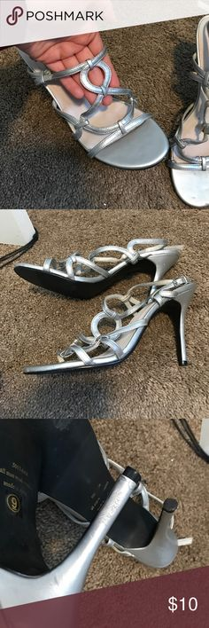 Formal silver high heels I wore these shoes too and from my dances when I was in high school they are a size 9 but I wear and 8.5 and they fit comfortably - some wear on the heels but not noticeable when they are on - 20% OFF On 2 listings or more in my closet - reasonable offers are acceptable! 😊 Shoes Heels