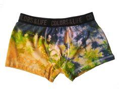 Calzoncillos boxers ropa interior hombre talla M tie dye teñidos a mano 95% algodón de JoOdri en Etsy