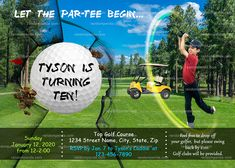 Personalize Golf Invitation, Retirement Party, Sports Tee Birthday Invite Golf Invitation, Retirement Party Invitations, Retirement Parties, Birthday Invitations, Invite, Birthday Parties, Large Photos, High Resolution Photos, Boy Or Girl