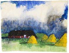 Marschlandschaft mit Bauernhof und Heudiemen By Emil Nolde ,1930