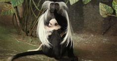 Macaca colobus angolana nativos de florestas na África equatorial - nascem completamente brancos, viram cinza e, por fim, pretos, sua cor adulta, em cerca de três meses. Scott Olson
