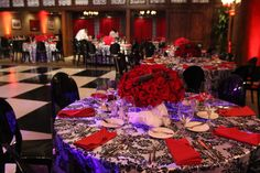 dinner party, roses, centerpiece, mad men, holiday party, reception, wedding, red, black, white, fabric treatment, dance floor, deco Centerpieces, Table Decorations, Social Events, Mad Men, Holiday Parties, Red Black, Table Settings, Birthdays, Reception