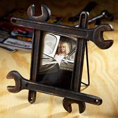 Manly Man's Wrench Picture Frame - Great Gifts for Men... Might be easy enough to make on your own