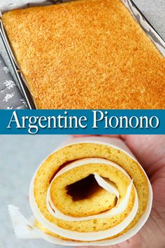 Fluffy and light Argentine pionono or roll cake! It can be used both for savory and sweet dishes. Simply spread your favorite fillings, roll, slice and serve! #pionono #rollcake