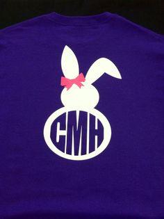 Short Sleeve Tshirt with Bunny Rabbit Monogram by BurlapandLaceSC1 on Etsy, $20.00