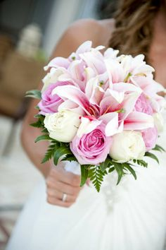 Pink lillies and import roses create a stunning and elegant bouquet. Beach weddings, Koh Samui, Thailand
