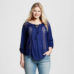 Women's Plus Size Lace Up Top with Lace Yoke Yellow - Almost Famous