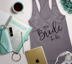 bride to be tank, can be customized to say what you want.. bridesmaid, maid of honor, mother of the bride, etc. #bridetribe