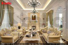Thiết kế nội thất phòng khách cổ điển sang trọng và quý phái