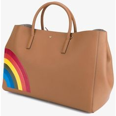 Anya Hindmarch large 'Rainbow Featherweight Ebury' tote ($735) ❤ liked on Polyvore featuring bags, handbags, tote bags, beige tote bag, anya hindmarch handbags, handbags tote bags, tote purses and tote bag purse