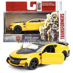 Jada Year 2017 Transformers The Last Knight Series 1:32 Scale Die Cast Metal Cars - BUMBLEBEE (2016 Chevy Camaro) with Opening Doors Transformers Collection, Transformers Action Figures, Transformers Toys, Last Knights, Cool Lego Creations, Ford Raptor, Chevy Camaro, Metal Casting, Jada