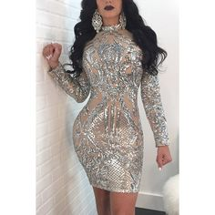 Silver Mock Neck Sparkle Sequined Sexy Bodycon Club Dress ($40) ❤ liked on Polyvore featuring dresses, sequin bodycon dress, sexy party dresses, sequin party dresses, sequin cocktail dresses and long cocktail dresses
