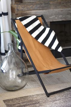 Leather Couch Chronicles #3 - Turn A Beach Chair Into A Chic Leather Sling Back Chair