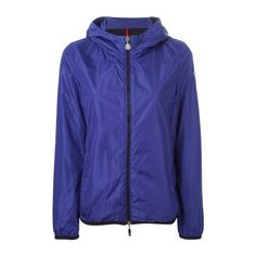 MONCLER 'Joyeuse' Windbreaker ($252) ❤ liked on Polyvore featuring activewear, activewear jackets, blue, moncler and logo sportswear