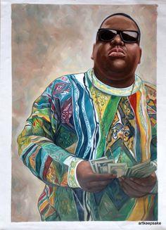Notorious B.I.G. Biggie Smalls original oil by artkeepsake on Etsy, $119.99