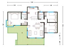 image31 Garage House Plans, House Floor Plans, Three Bedroom House Plan, Farm Cottage, Traditional House, Construction, My House, Architecture Design, House Design
